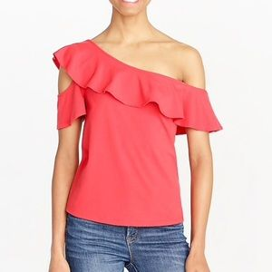 NWT J Crew coral one shoulder ruffle top